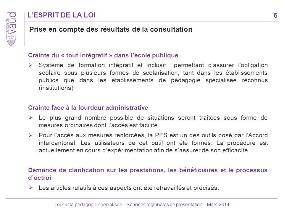 6 Loi sur la pédagogie spécialisée – Séances régionales de présentation – Mars 2014 LESPRIT DE LA LOI Crainte du « tout intégratif » dans lécole publi