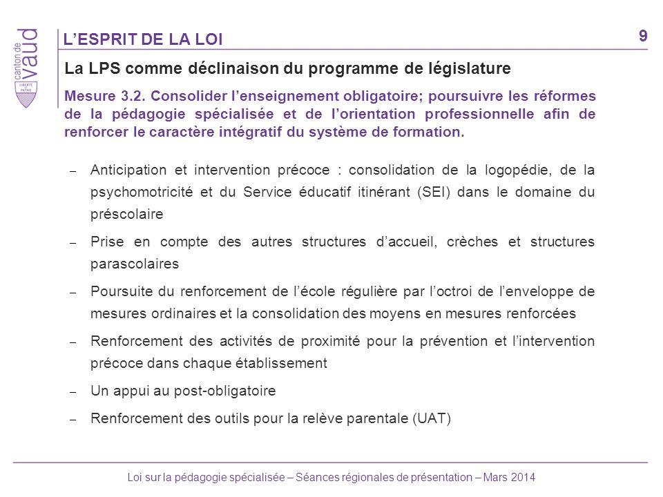 9 Loi sur la pédagogie spécialisée – Séances régionales de présentation – Mars 2014 – Anticipation et intervention précoce : consolidation de la logop