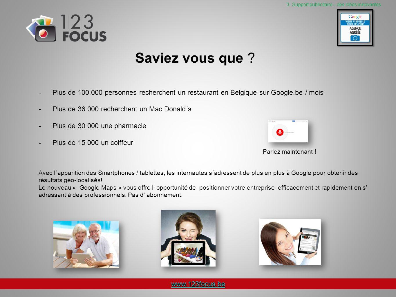 www.123focus.be 3- Support publicitaire – des idées innovantes Saviez vous que .