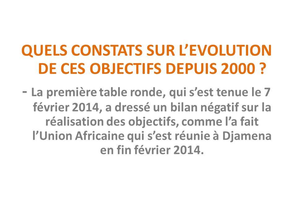 QUELS CONSTATS SUR LEVOLUTION DE CES OBJECTIFS DEPUIS 2000 .