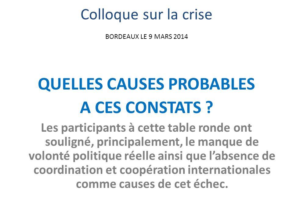 Colloque sur la crise BORDEAUX LE 9 MARS 2014 QUELLES CAUSES PROBABLES A CES CONSTATS .