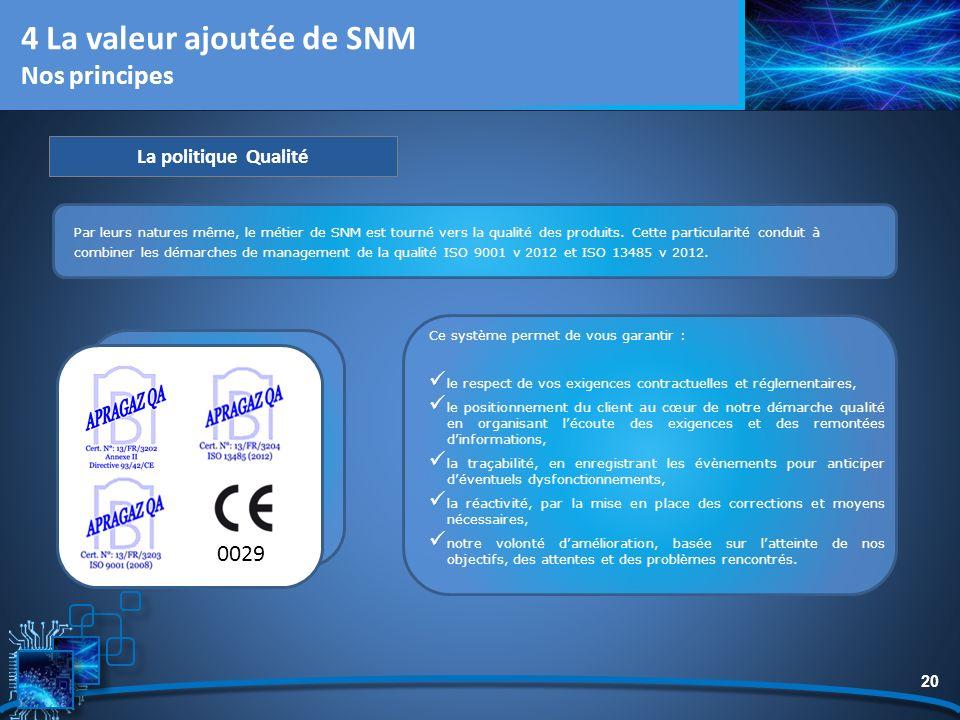20 Par leurs natures même, le métier de SNM est tourné vers la qualité des produits. Cette particularité conduit à combiner les démarches de managemen