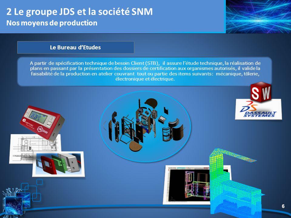 6 2 Le groupe JDS et la société SNM Nos moyens de production Le Bureau dEtudes A partir de spécification technique de besoin Client (STB), il assure l