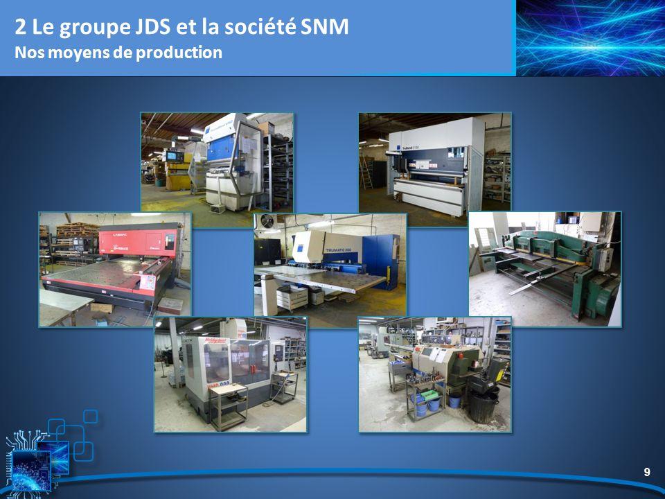 9 2 Le groupe JDS et la société SNM Nos moyens de production