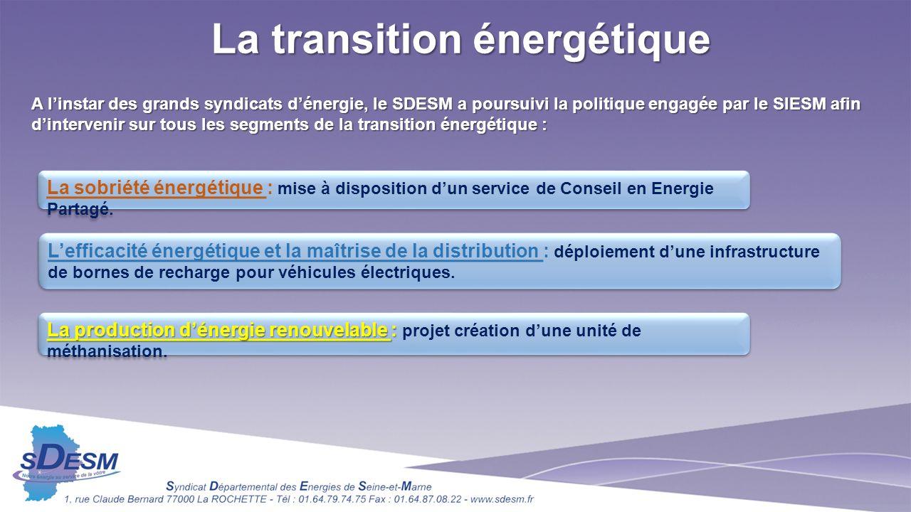 La transition énergétique A linstar des grands syndicats dénergie, le SDESM a poursuivi la politique engagée par le SIESM afin dintervenir sur tous les segments de la transition énergétique : La sobriété énergétique : mise à disposition dun service de Conseil en Energie Partagé.