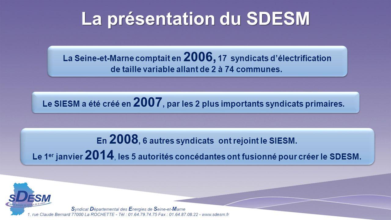 La présentation du SDESM La Seine-et-Marne comptait en 2006, 17 syndicats délectrification de taille variable allant de 2 à 74 communes.