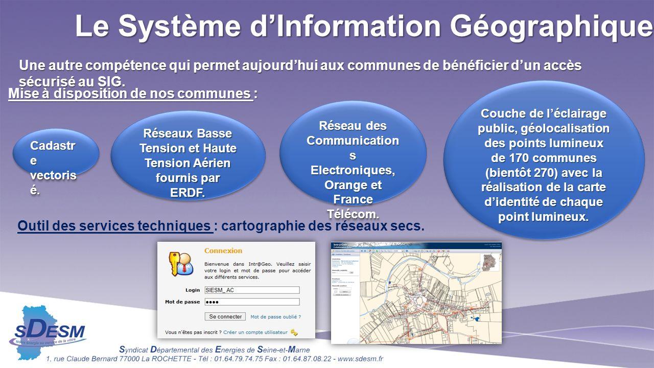 Le Système dInformation Géographique Une autre compétence qui permet aujourdhui aux communes de bénéficier dun accès sécurisé au SIG.