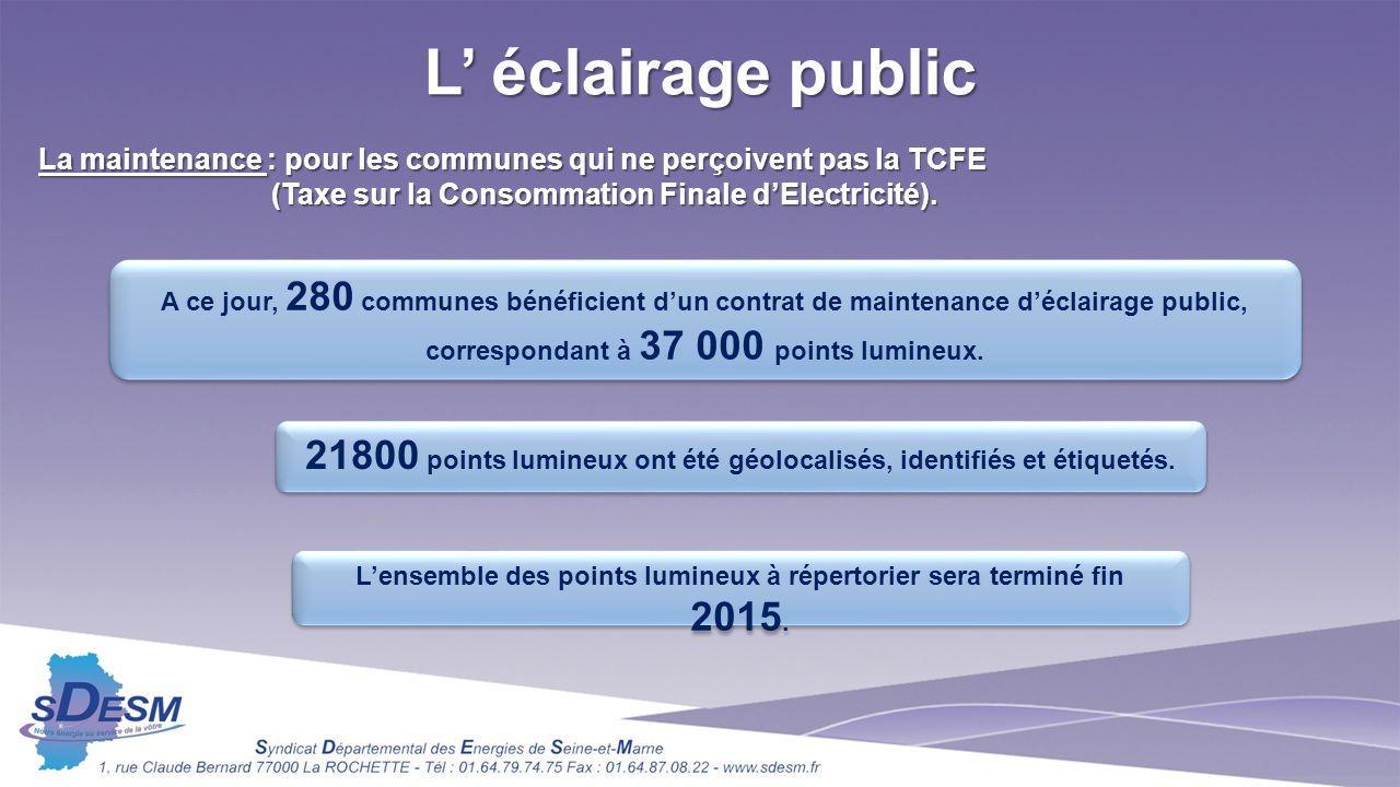 L éclairage public La maintenance : pour les communes qui ne perçoivent pas la TCFE (Taxe sur la Consommation Finale dElectricité).