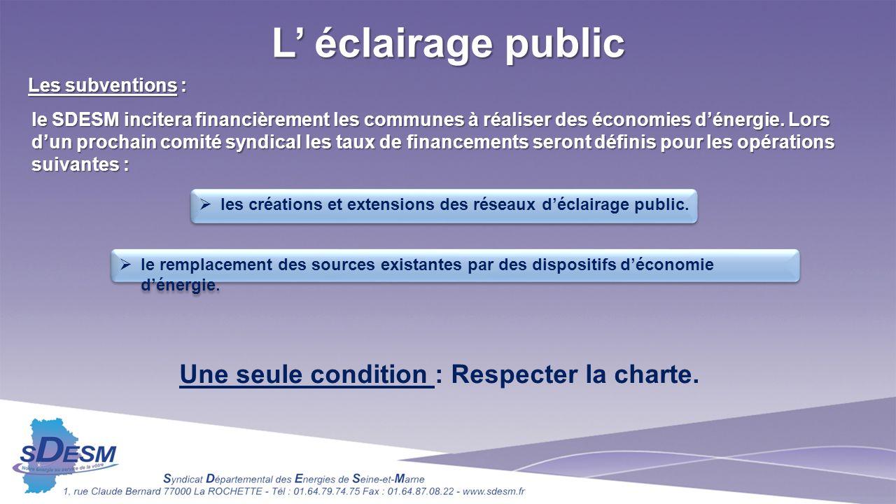 L éclairage public Les subventions : le SDESM incitera financièrement les communes à réaliser des économies dénergie.