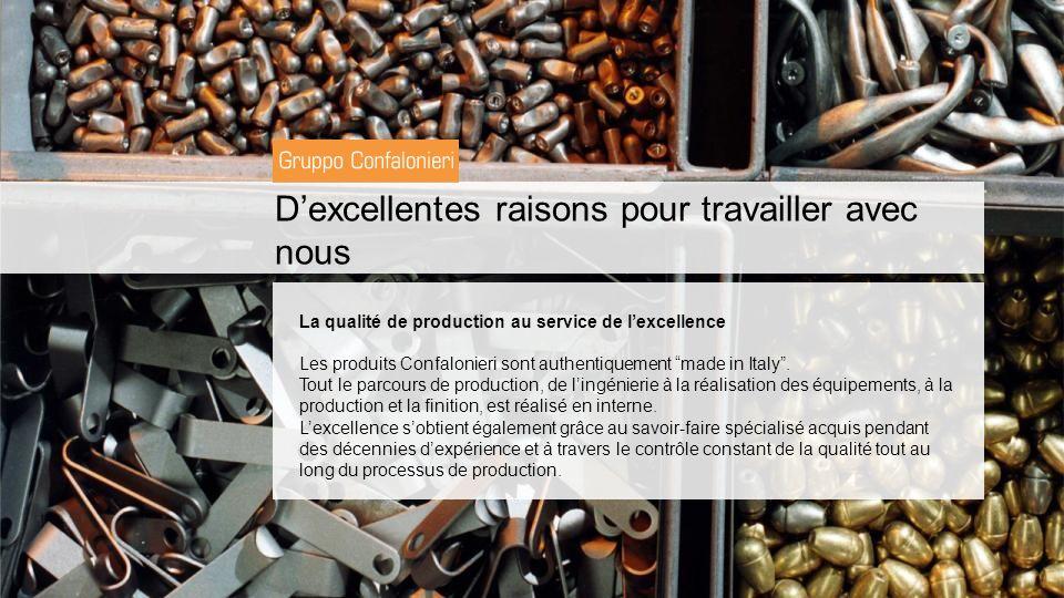Dexcellentes raisons pour travailler avec nous La qualité de production au service de lexcellence Les produits Confalonieri sont authentiquement made in Italy.
