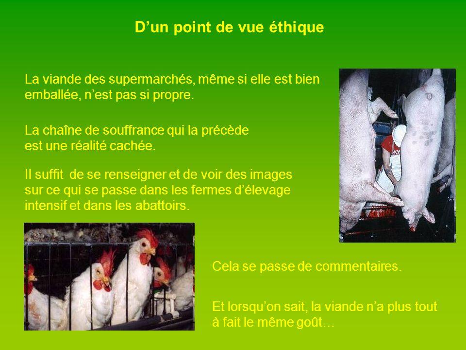 Dun point de vue éthique La viande des supermarchés, même si elle est bien emballée, nest pas si propre.