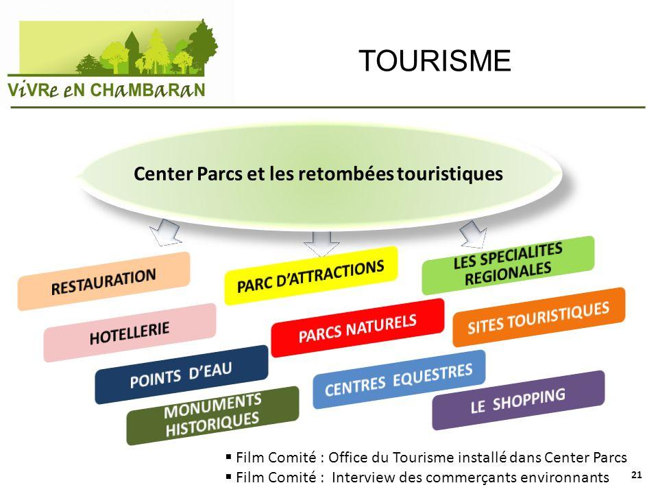 TOURISME Film Comité : Office du Tourisme installé dans Center Parcs Film Comité : Interview des commerçants environnants Center Parcs et les retombée