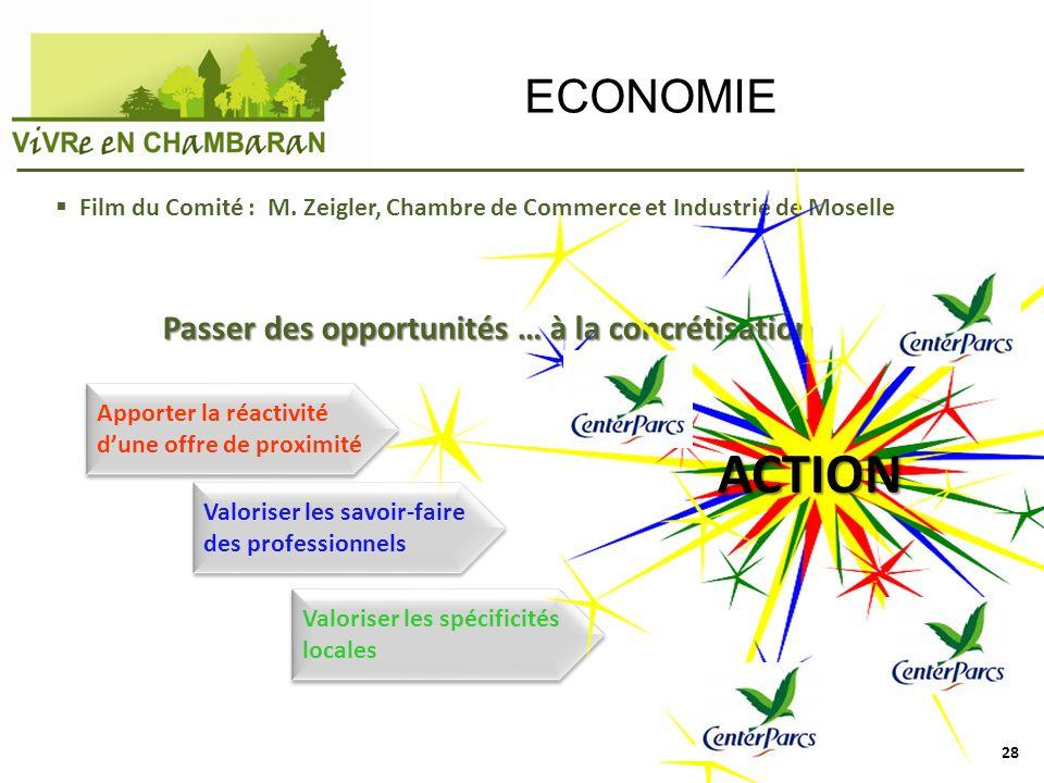 ECONOMIE Film du Comité : M. Zeigler, Chambre de Commerce et Industrie de Moselle Passer des opportunités … à la concrétisation Apporter la réactivité