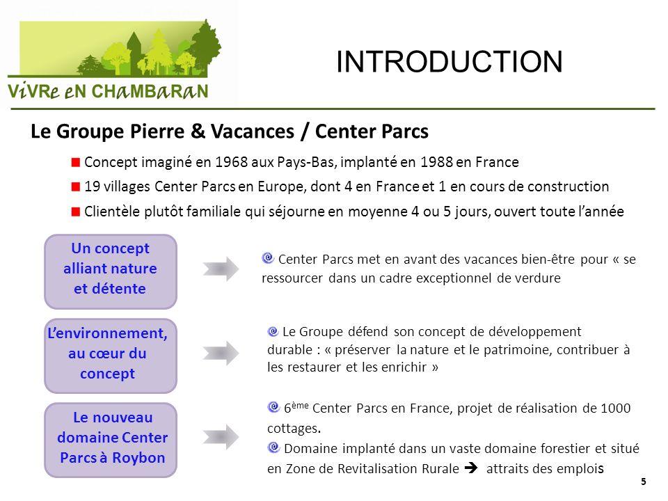 INTRODUCTION Le Groupe Pierre & Vacances / Center Parcs Concept imaginé en 1968 aux Pays-Bas, implanté en 1988 en France 19 villages Center Parcs en E