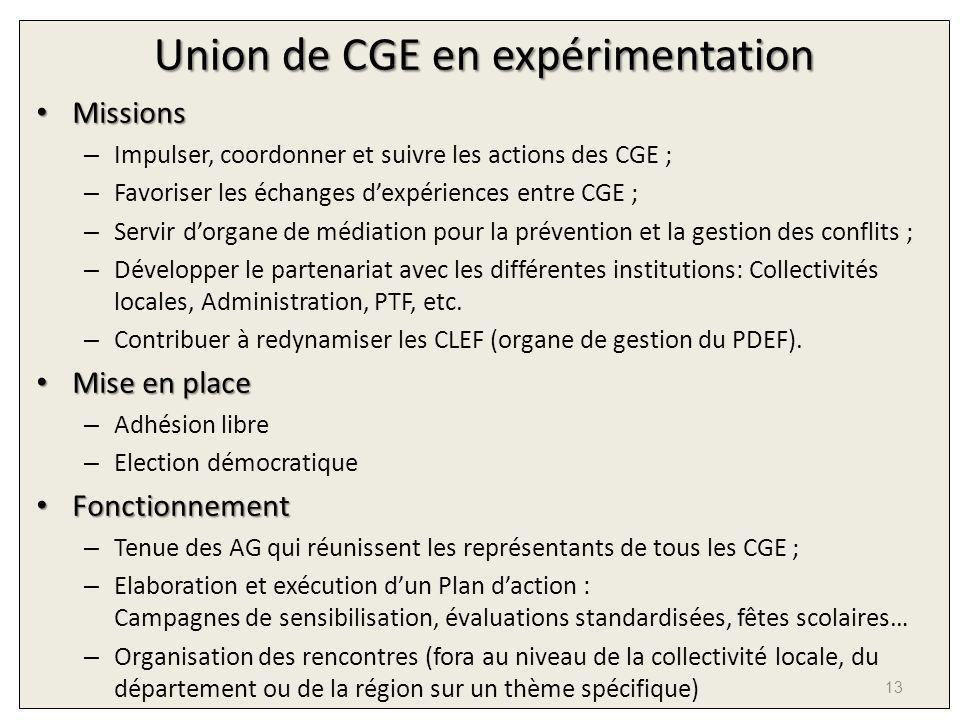 Union de CGE en expérimentation Missions Missions – Impulser, coordonner et suivre les actions des CGE ; – Favoriser les échanges dexpériences entre C