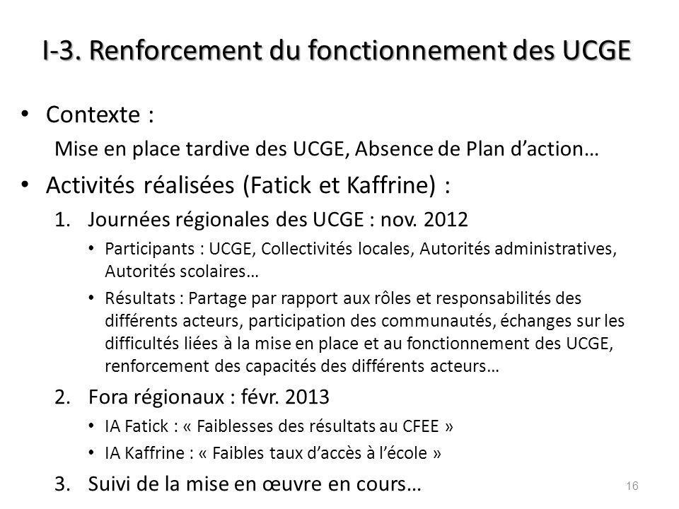 I-3. Renforcement du fonctionnement des UCGE Contexte : Mise en place tardive des UCGE, Absence de Plan daction… Activités réalisées (Fatick et Kaffri