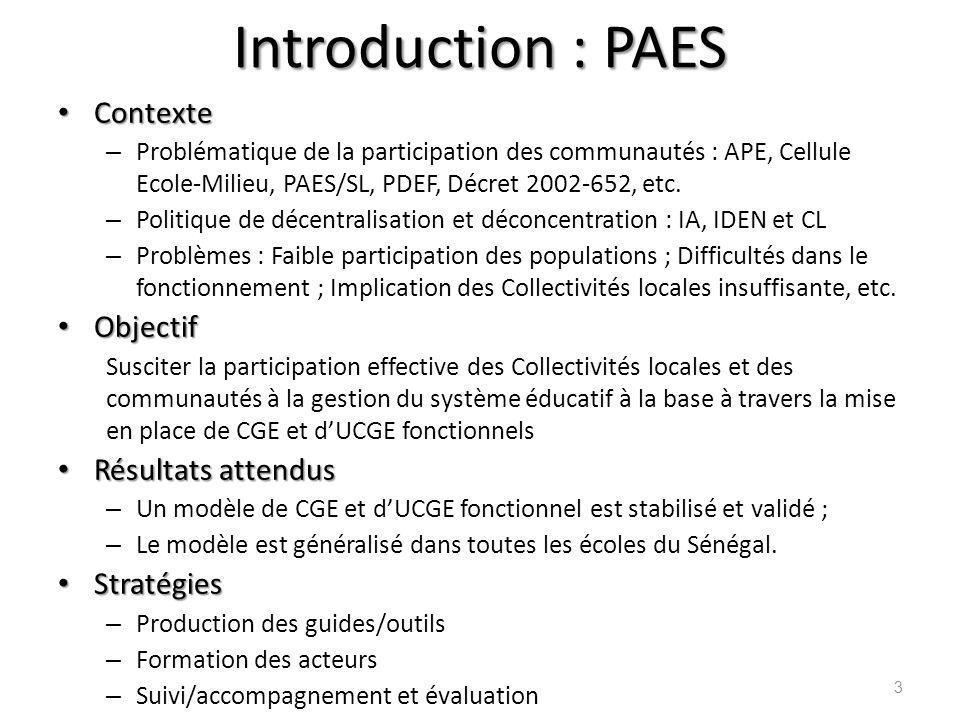 Introduction : PAES Contexte Contexte – Problématique de la participation des communautés : APE, Cellule Ecole-Milieu, PAES/SL, PDEF, Décret 2002-652,