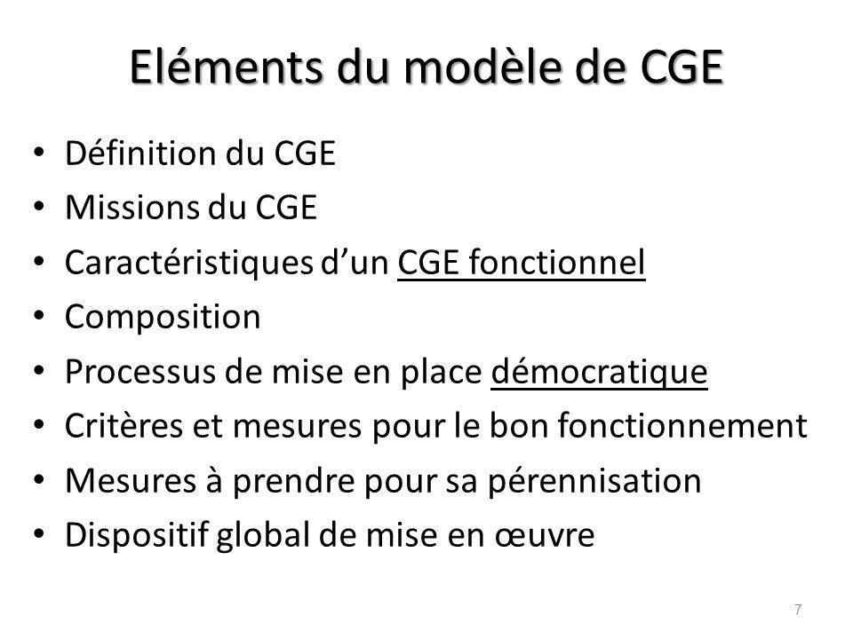 Eléments du modèle de CGE Définition du CGE Missions du CGE Caractéristiques dun CGE fonctionnel Composition Processus de mise en place démocratique C