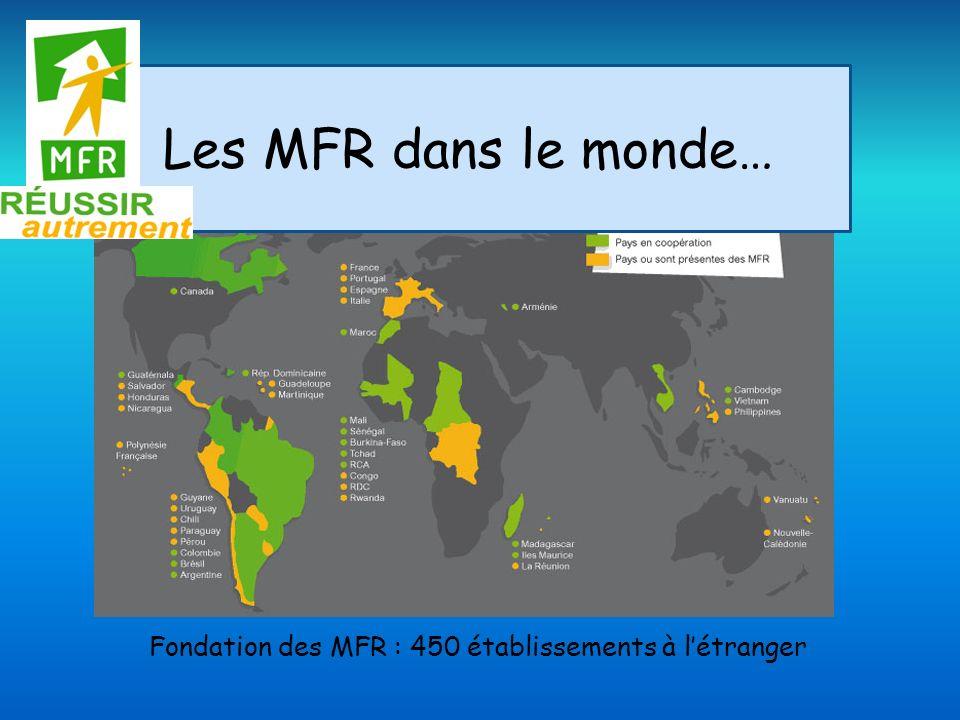 Les MFR dans le monde… Fondation des MFR : 450 établissements à létranger