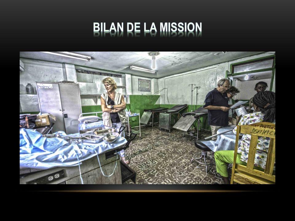 Missions plus de médecins accréditeurs que de médecins humanitaires Difficultés de communication avec et entre les médecins locaux Points négatifs Bon niveau technique des médecins locaux Première collaboration entre GSF et Conseil Santé ouvrant des perspectives prometteuses de futures collaborations en Haïti et dans le monde Points positifs