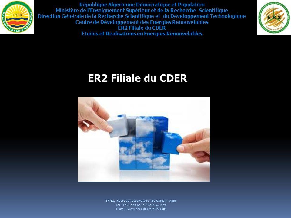 Programme réalisé durant lannée 2010 Le résultat obtenu durant lexercice 2010 est conséquent au fait que la filiale ER2 sest engagé durant prés de 06 mois avec la SONELGAZ pour létude et linstallation de 2000 kits solaires à travers les différente Wilaya du Sud Algérien.