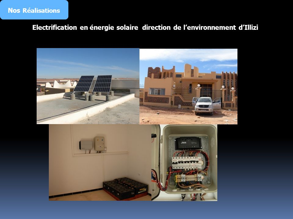Nos Réalisations Electrification en énergie solaire direction de lenvironnement dIllizi
