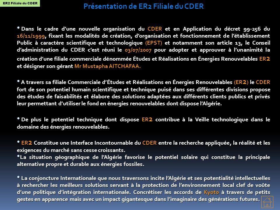 Présentation de ER2 Filiale du CDER Dans le cadre dune nouvelle organisation du CDER et en Application du décret 99-256 du 16/11/1999, fixant les modalités de création, dorganisation et fonctionnement de létablissement Public à caractère scientifique et technologique (EPST) et notamment son article 13, le Conseil dadministration du CDER cest réuni le 03/07/2007 pour adopter et approuver à lunanimité la création dune filiale commerciale dénommée Études et Réalisations en Énergies Renouvelables ER 2 et désigner son gérant Mr Mustapha AITCHAFAA.