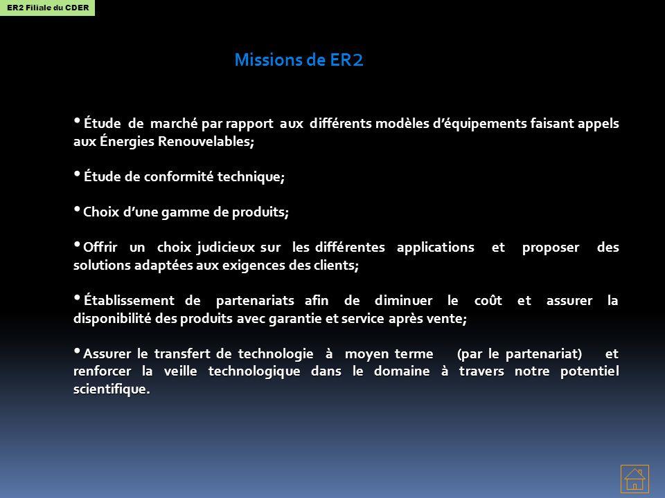 Missions de ER 2 Étude de marché par rapport aux différents modèles déquipements faisant appels aux Énergies Renouvelables; Étude de marché par rappor