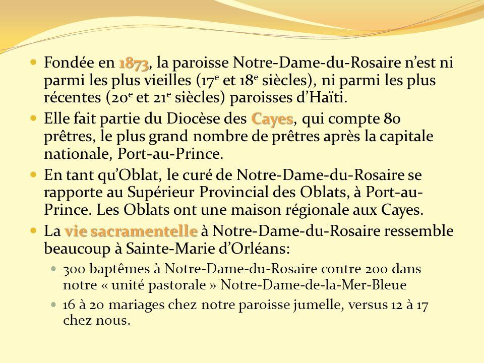 1873 Fondée en 1873, la paroisse Notre-Dame-du-Rosaire nest ni parmi les plus vieilles (17 e et 18 e siècles), ni parmi les plus récentes (20 e et 21