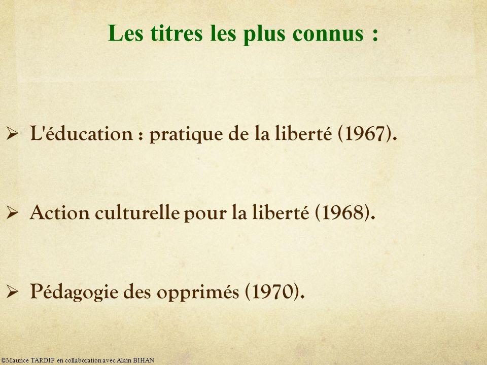 L éducation : pratique de la liberté (1967).Action culturelle pour la liberté (1968).