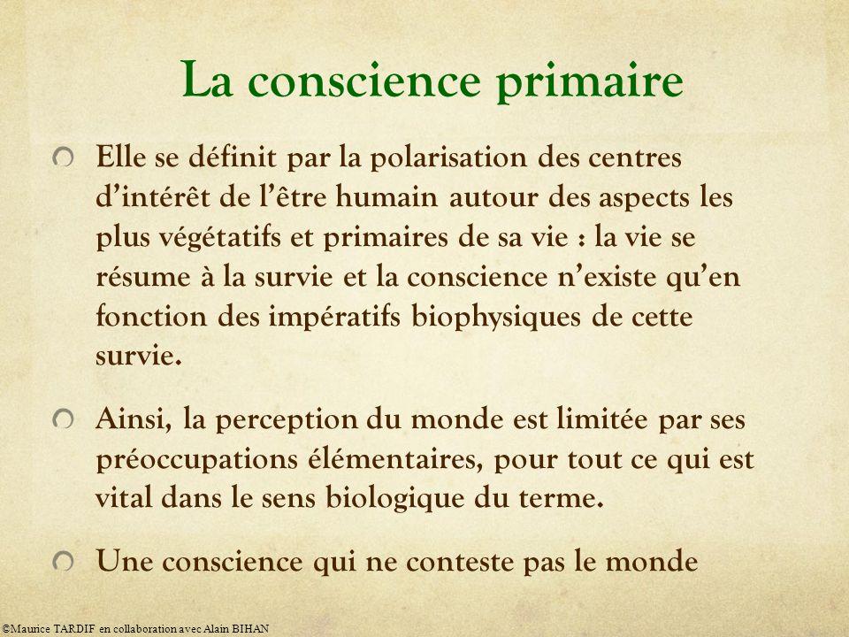 La conscience primaire Elle se définit par la polarisation des centres dintérêt de lêtre humain autour des aspects les plus végétatifs et primaires de sa vie : la vie se résume à la survie et la conscience nexiste quen fonction des impératifs biophysiques de cette survie.
