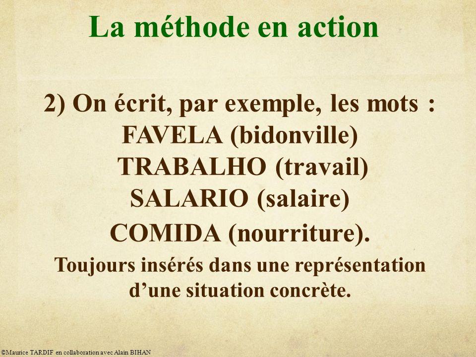 La méthode en action 2) On écrit, par exemple, les mots : FAVELA (bidonville) TRABALHO (travail) SALARIO (salaire) COMIDA (nourriture).