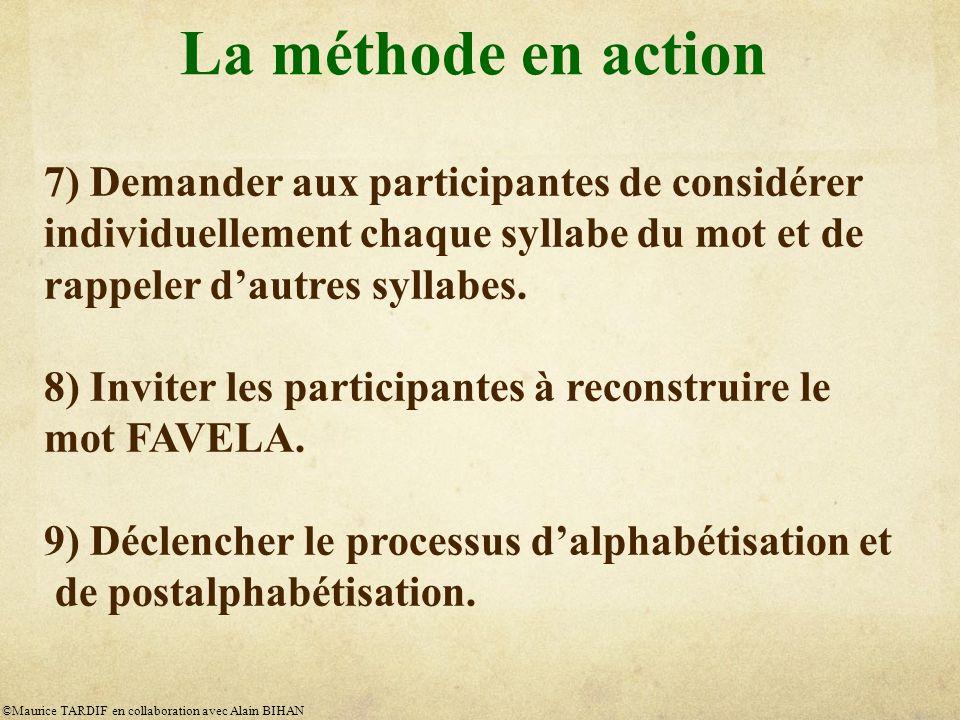 La méthode en action 7) Demander aux participantes de considérer individuellement chaque syllabe du mot et de rappeler dautres syllabes.