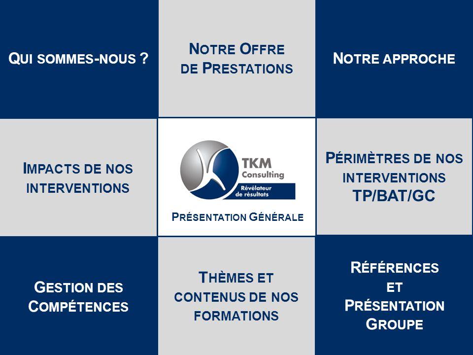 Présentation TKM TP/BAT/GC 2 Révision B - 2014 TKM PPT.D TKM Consulting est une filiale du Groupe Depuis 30 ans, TKM Consulting intervient, dans les secteurs du B Ā TIMENT et des T RAVAUX P UBLICS, de lI NDUSTRIE et des S ERVICES, sur les processus majeurs de lentreprise avec pour objectif daméliorer de MANIÈRE DURABLE leur RENTABILITÉ Ses experts en FORMATION, CONSEIL et ACCOMPAGNEMENT OPÉRATIONNEL mettent en œuvre les méthodes et agissent sur les leviers permettant d améliorer la performance des entreprises, DE LA PME AU G ROUPE I NTERNATIONAL Q UI SOMMES - NOUS .