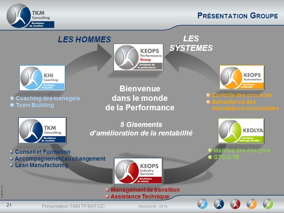 Présentation TKM TP/BAT/GC 21 Révision B - 2014 TKM PPT.D P RÉSENTATION G ROUPE LES HOMMES LES SYSTEMES Management de transition Assistance Technique
