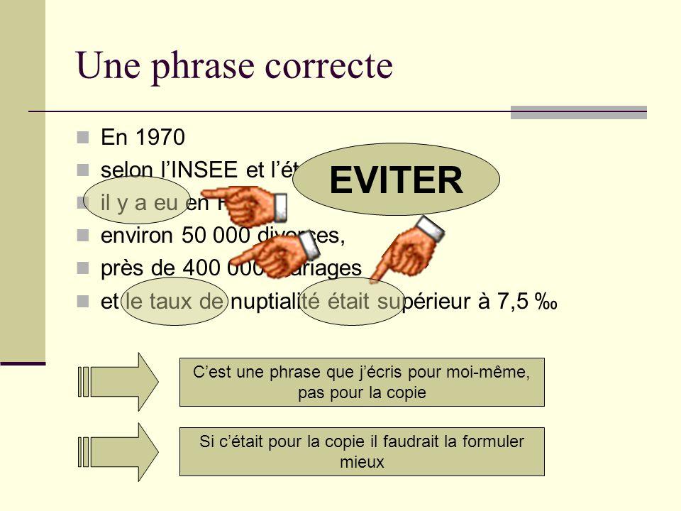 Faire une phrase exacte… Pour lannée 1970, résumer toute linformation délivrée par le graphe en une phrase : Précise Complète Exacte