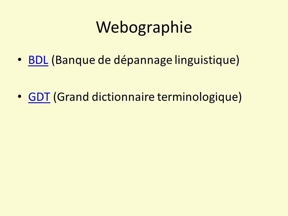 Webographie BDL (Banque de dépannage linguistique) BDL GDT (Grand dictionnaire terminologique) GDT