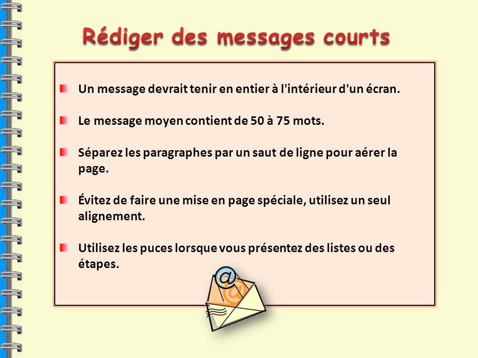 Un message devrait tenir en entier à l'intérieur d'un écran. Le message moyen contient de 50 à 75 mots. Séparez les paragraphes par un saut de ligne p