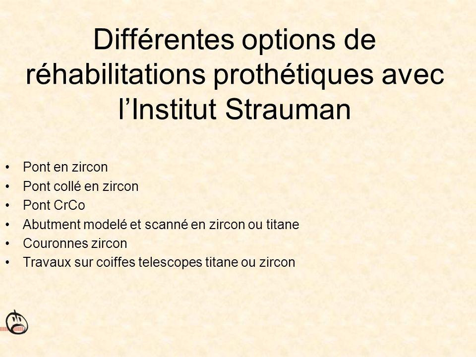 Différentes options de réhabilitations prothétiques avec lInstitut Strauman Pont en zircon Pont collé en zircon Pont CrCo Abutment modelé et scanné en
