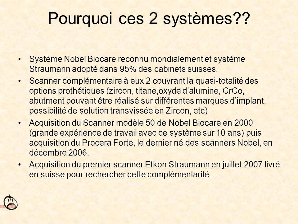 Pourquoi ces 2 systèmes?? Système Nobel Biocare reconnu mondialement et système Straumann adopté dans 95% des cabinets suisses. Scanner complémentaire