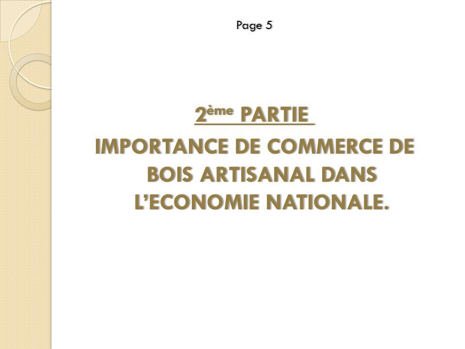 Page 5Page 5 2 ème PARTIE 2 ème PARTIE IMPORTANCE DE COMMERCE DE BOIS ARTISANAL DANS LECONOMIE NATIONALE.