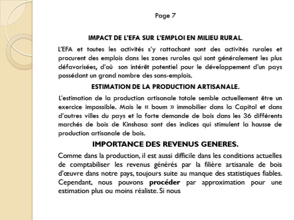 Page 7Page 7 IMPACT DE LEFA SUR LEMPLOI EN MILIEU RURAL.IMPACT DE LEFA SUR LEMPLOI EN MILIEU RURAL. LEFA et toutes les activités sy rattachant sont de