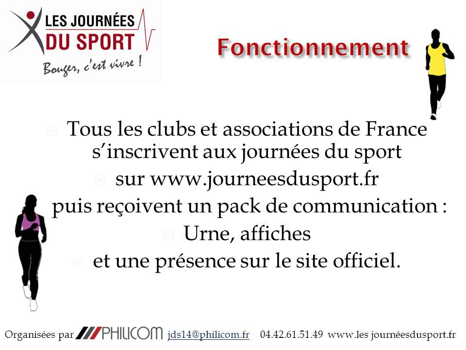 Tous les clubs et associations de France sinscrivent aux journées du sport sur www.journeesdusport.fr puis reçoivent un pack de communication : Urne, affiches et une présence sur le site officiel.