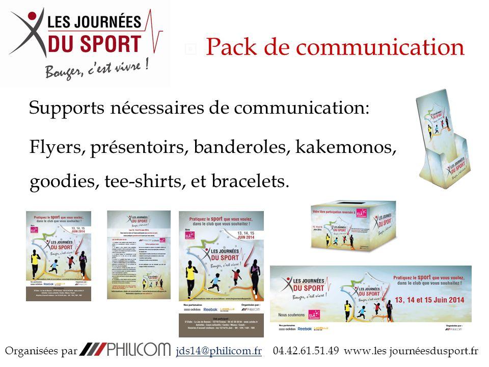 Supports nécessaires de communication: Flyers, présentoirs, banderoles, kakemonos, goodies, tee-shirts, et bracelets.