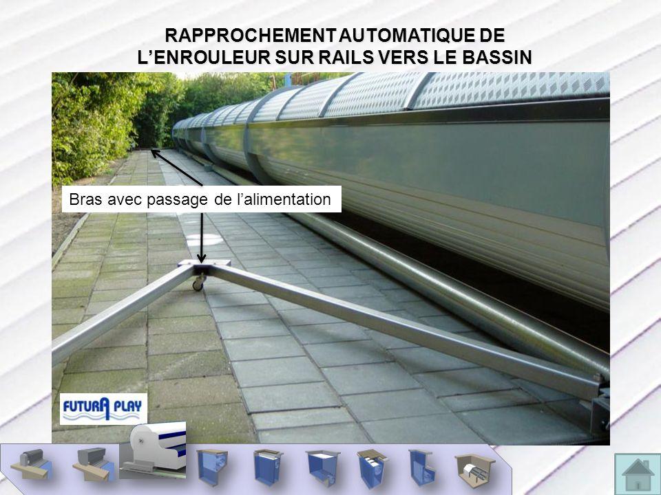 RAPPROCHEMENT AUTOMATIQUE DE LENROULEUR SUR RAILS VERS LE BASSIN Bras avec passage de lalimentation