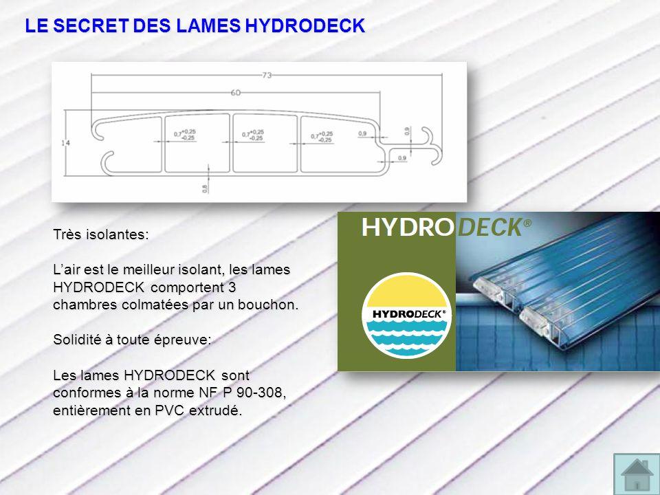 LE SECRET DES LAMES HYDRODECK Très isolantes: Lair est le meilleur isolant, les lames HYDRODECK comportent 3 chambres colmatées par un bouchon.