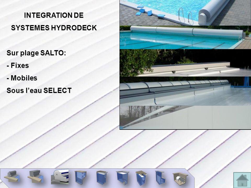 INTEGRATION DE SYSTEMES HYDRODECK Sur plage SALTO: - Fixes - Mobiles Sous leau SELECT