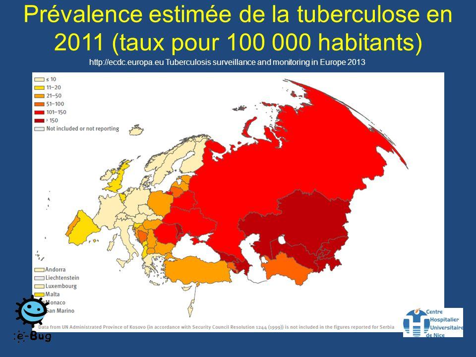 Prévalence estimée de la tuberculose en 2011 (taux pour 100 000 habitants) http://ecdc.europa.eu Tuberculosis surveillance and monitoring in Europe 2013