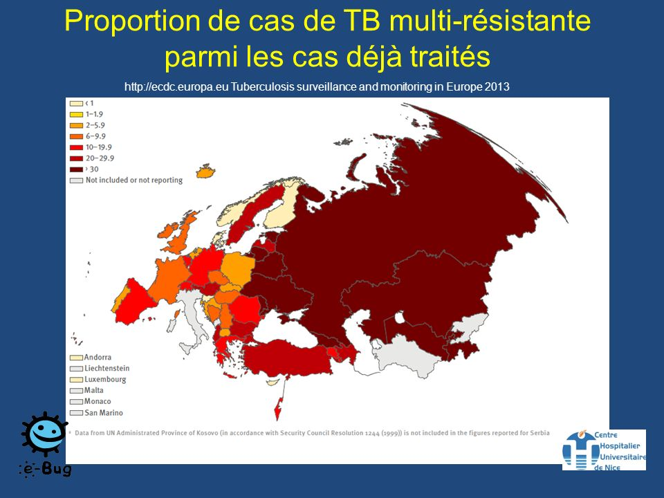 Proportion de cas de TB multi-résistante parmi les cas déjà traités http://ecdc.europa.eu Tuberculosis surveillance and monitoring in Europe 2013