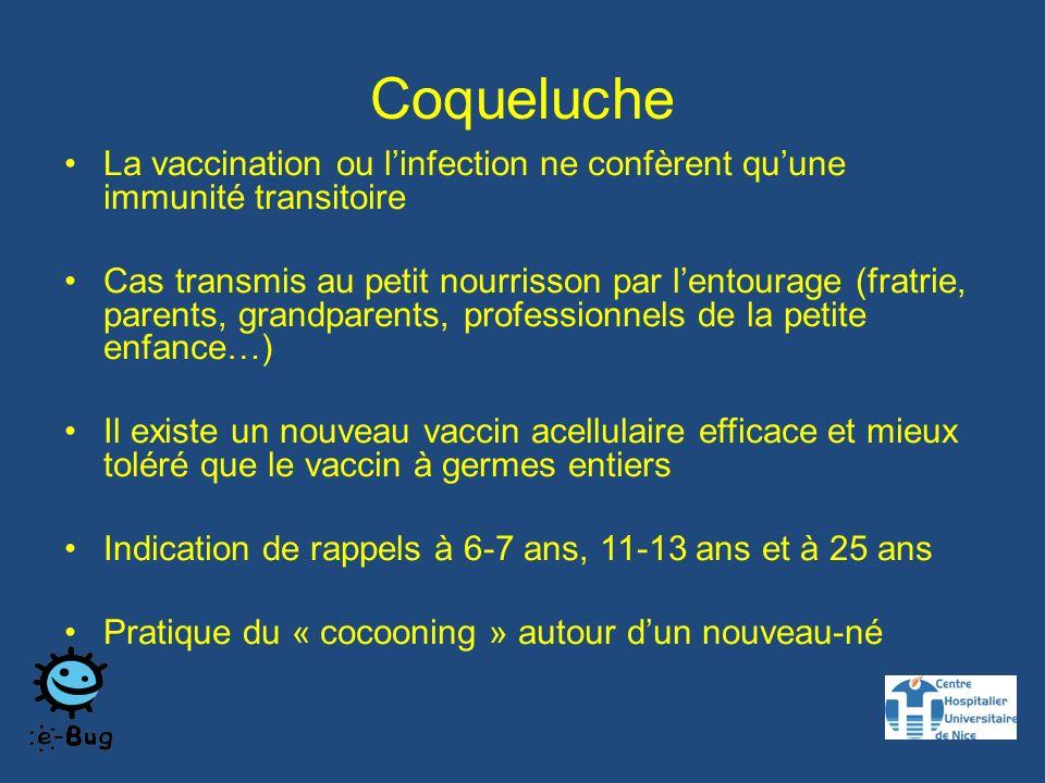 Coqueluche La vaccination ou linfection ne confèrent quune immunité transitoire Cas transmis au petit nourrisson par lentourage (fratrie, parents, grandparents, professionnels de la petite enfance…) Il existe un nouveau vaccin acellulaire efficace et mieux toléré que le vaccin à germes entiers Indication de rappels à 6-7 ans, 11-13 ans et à 25 ans Pratique du « cocooning » autour dun nouveau-né